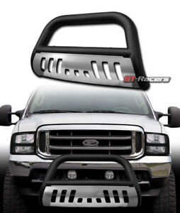 For 1999 2004 F250 2000 Excursion Matte Black Bull Bar Bumper Grille Guard Skid