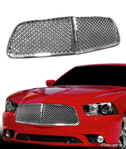 For 2011 2014 Dodge Charger Chrome Luxury Mesh Front Hood Bumper Grille Guard