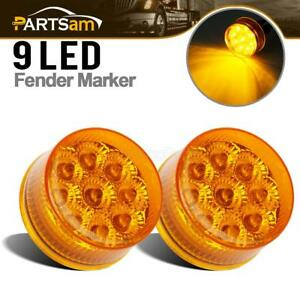 2pcs Amber Led 2 Round Clearance Side Marker Lights Waterproof For Truck Rv 12v