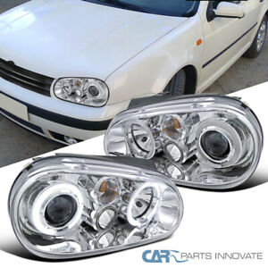 Fit Vw 99 06 Golf Mk4 Gti R32 Cabrio Clear Halo Projector Headlights Head Lamps
