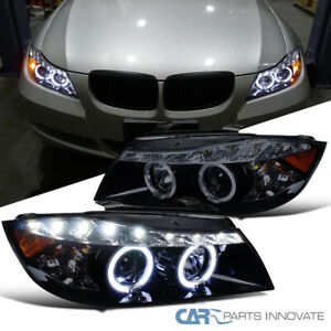 New Glossy Black 06 08 Bmw E90 3 Series 4dr Smoke Led Halo Projector Headlight