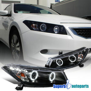 For 2008 2012 Honda Accord 2dr Coupe Black Dual Halo Led Projector Headlights