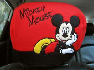 Mickey Mouse Disney Car Accessory c 1 Piece Head Rest Head Seat Cover Red black