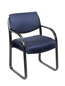 Lot Of 10 Boss Blue Fabric Guest Office Chairs With Steel Frame
