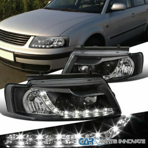 For Vw 97 00 Passat B5 Black Led Strip Projector Headlights Head Lights Lamps