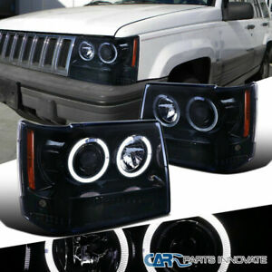 For 93 96 Jeep Grand Cherokee Glossy Black Dual Halo Projector Headlights Lamps