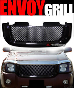 For 2002 2008 Gmc Envoy Black Luxury Mesh Front Hood Bumper Grill Grille Guard
