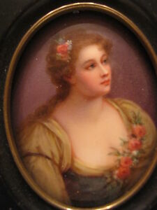 Antique Porcelain Hand Painted Plaque Portrait Beautiful Women Signed Parabere