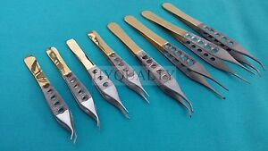 8 Pcs Gold Handle Adson Tissue 1x2t dressing Forceps 4 75 6 Straight curved