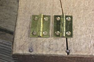 2 Small Cabinet Door Hinges Shutter Nos Solid Brass 1 X 3 4 Antique Box Vintage