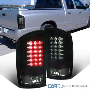 Glossy Black 02 06 Dodge Ram 1500 2500 3500 Dark Smoke Led Tail Lights Rear Lamp