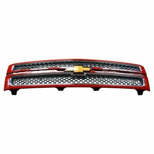 Oem Grille Chrome Mesh Victory Red Surround For Chevy Silverado 1500 Ltz Gm