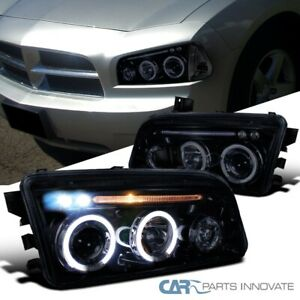 Glossy Black Dodge 06 10 Charger Halo Led Projector Headlights Headlamps Pair
