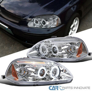 For 96 98 Honda Civic 2 3 4dr Led Halo Clear Projector Headlights Head Lamps