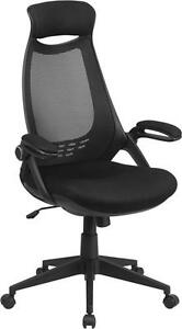 High Back Executive Black Mesh Chair With Flip up Arms