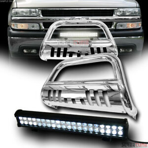 Stainless Chrome Bull Bar Guard 120w Cree Led Fog Lamp 99 Chevy Suburban Tahoe