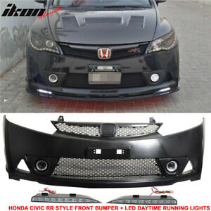 Fits 06 11 Civic Sedan Mugen Rr Front Bumper Led Daytime Running Fog Lamp Drl