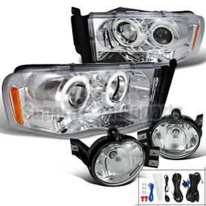 2002 2005 Dodge Ram Halo Led Projector Headlights Fog Lights Clear Set