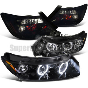 For 2006 2011 Civic 2dr Coupe Led Halo Projector Head Light tail Glossy Black
