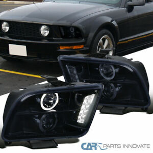 Glossy Piano Black Ford 05 09 Mustang Tinted Halo Projector Headlights Lamps