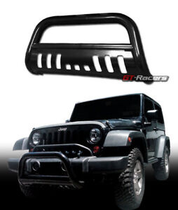 For 2010 2018 Jeep Wrangler Black Bull Bar Brush Push Bumper Grill Grille Guard