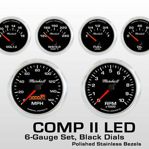 C2 6 Gauge Set Black Dials Stainless Bezels 0 90 Ohm Fuel Level 2064ss