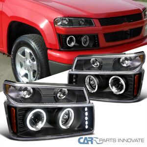 For 04 12 Colorado Canyon Halo Led Drl Projector Headlights Black Corner Signal