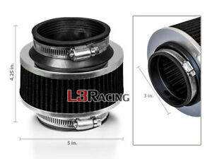 3 Inch 76mm Universal Type Bypass Valve Black Filter For Chevry Cold Air Intake