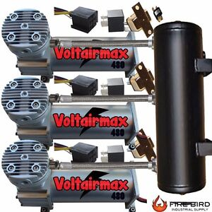 Voltairmax 3 pack 480 200psi Air Compressor For Air Bag Suspension Horn System