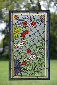 20 X 34 Lg Decorative Handcrafted Jeweled Stained Glass Window Panel Flower