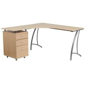 Beech Laminate L shape Desk With Three Drawer Pedestal