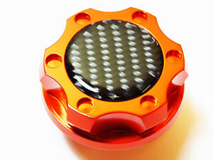 Fits Dodge Charger Challenger V8 Carbon Fiber Hemi Billet Engine Oil Cap Orange