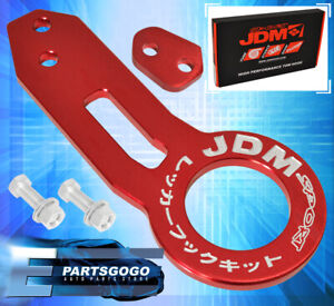 For Honda Jdm Sport Tow Hook Drift 4000lb Bolt On Solid Towing Assembly Kit Red