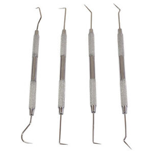 4pc Double Ended Dental Pick Probe Wax Carving Carver Tool Set Stainless Steel