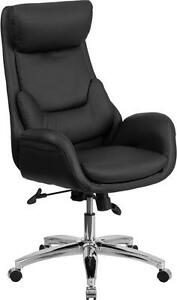 Conference Table High Back Black Leather Exec Office Chair With Lumbar Pillow