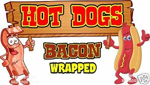 Hot Dogs Bacon Wrapped Decal 14 Hotdogs Concession Food Truck Vinyl Sticker