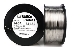 Temco Nichrome 80 Series Wire 24 Gauge 1 5 Lb 1297 5ft Resistance Awg Ga
