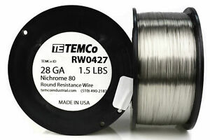 Temco Nichrome 80 Series Wire 28 Gauge 1 5 Lb 3303ft Resistance Awg Ga
