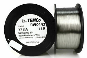 Temco Nichrome 80 Series Wire 32 Gauge 1 Lb 5463ft Resistance Awg Ga