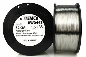 Temco Nichrome 80 Series Wire 32 Gauge 1 5 Lb 8194 5ft Resistance Awg Ga