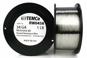Temco Nichrome 80 Series Wire 34 Gauge 1 Lb 8809ft Resistance Awg Ga