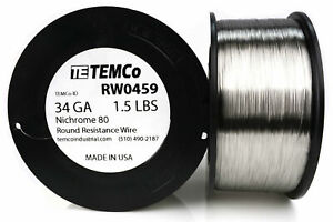 Temco Nichrome 80 Series Wire 34 Gauge 1 5 Lb 13213 5ft Resistance Awg Ga