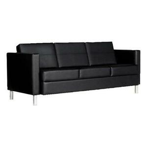 Global Citi Three seater Sofa In Black Mock Leather