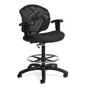 Tye Low back Mesh Pneumatic Drafting Stool With Arms Arms Included