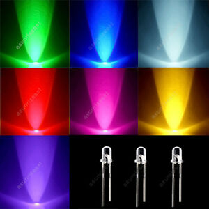 3500 3mm Red Green Blue Yellow Purple Pink White Led Light Mixed 7 Colors