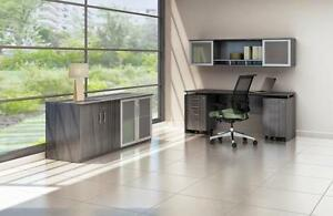 Mayline Medina Series 5 Piece Gray Steel Laminate Computer Furniture Set