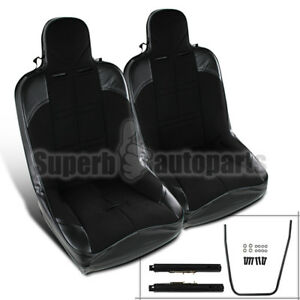 2pc Black Pvc Leather Jdm Off Road Buckle Style Racing Seat