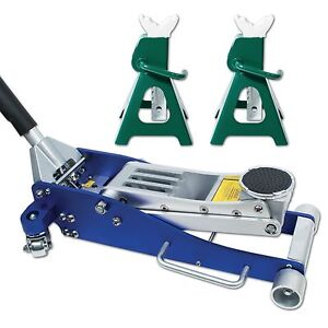 Jackco 3 Ton Low Profile Aluminum Racing Floor Jack With Bonus 3 Ton Jack Stands