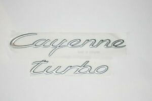 Porsche Silver Cayenne 955 Turbo Badge Emblem Rear Genuine New