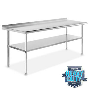 Stainless Steel Commercial Kitchen Work Prep Table With Backsplash 30 X 72